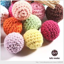 Let's Make 50pc/lot Crochet Round Wooden Beads Crochet Color Mix Ball 16-20mm Decoration Inside Wooden Teething Crochet Beads(China)