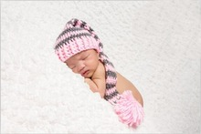 free shipping,CROCHET NEWBORN  LONG TAIL ELF PIXIE hat SPECIAL SPIRAL DESIGN ,100% cotton baby Stocking Hat -PHOTO PROP