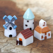 1Pcs Wind Mill Church Castle House DIY Resin Fairy Garden Craft Decoration Miniature Micro Gnome Terrarium Gift AL3336(China)