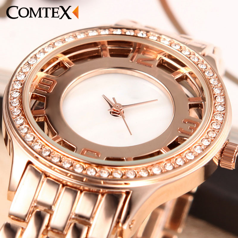Comtex Fashion Women Wristwatch Alloy Strap Ladies Watch simplicity Casual Quartz Watch Waterproof bracelet Watch exquisite gift<br>