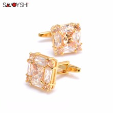 SAVOYSHI Luxury Crystal Zircon Cufflinks For Mens High Quality White&champagne Cuff links Wedding Gift Gold Color Brand Jewelry(China)