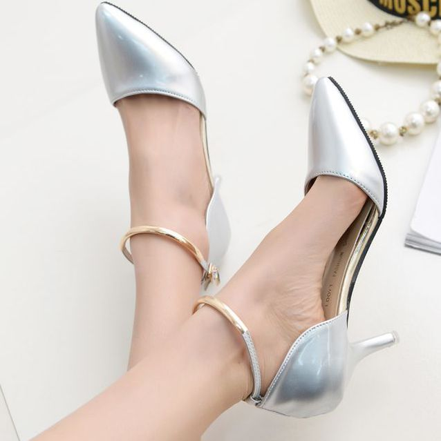 2017 spring summer thin heels pumps shoe for woman,  brand new european pattern female ankle strap sexy pointed toe open pumps<br>