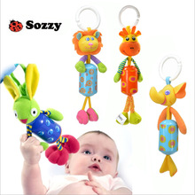 HOT 27cm Infant Rattles bed bells Plush doll Lion Rabbit Deer Newborn Baby Stroller Bed Hanging Ring Bell Soft musical toys