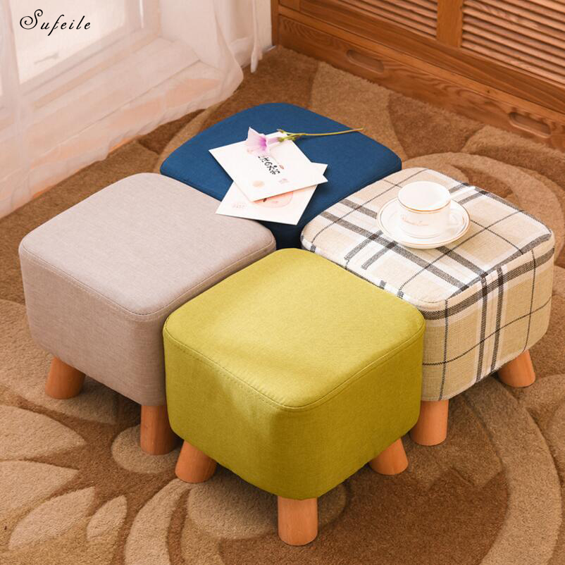 SUFEILE Childrens Solid Wood Stool Creative furniture Test shoe Stool Children Fabric Sofa Low Chair Living Room Stool D50<br>