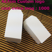 Wholesale 40x70mm White paper Tag Custo logo Cost Extra MOQ : 1000 PCS Garment Tag 1LOT =100PCS Tag+100 Twine Tag String