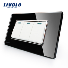 Livolo Manufacturer Luxury Black Crystal Glass Panel, 3 Gangs 2 Way, Push Button Switch, VL-C3K3S-82(China)
