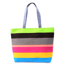 Lady Fine line Shopping Handbag Shoulder Canvas Bag Tote Purse striped large one shoulder bag for women carteras mujer de hombro(China)