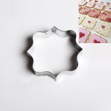 New Square Frame Plaque Cookie Cutter Stainless Steel Fondant Cake Mold Pastry Tools Mouse Cake Decorating Cookie Stamps DH009