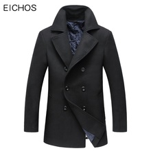 EICHOS Winter Coat Men Wool Blends Outerwear Slim Double Breasted Woolen Coat Men Casual Mid-Long Mens Trench Overcoat Size 3XL(China)