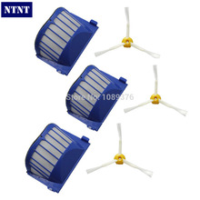NTNT Free Post New 3 Side Brush 3 Armed + 3 Aero Vac Filter for iRobot Roomba 500 Series 536 550(China)