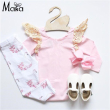 NEW Baby Girl Clothes Set Angel's Wing Pink T-Shirt +Leggings/pants 2pcs suit Little Swan Cotton Princess Infant Girls Clothing