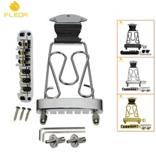 FLEOR 1 Set of Tune-O-Matic Guitar Bridge Roller Saddle & Tailpiece Trapeze for 6 String Archtop Jazz Guitar,Gold/Black/Chrome