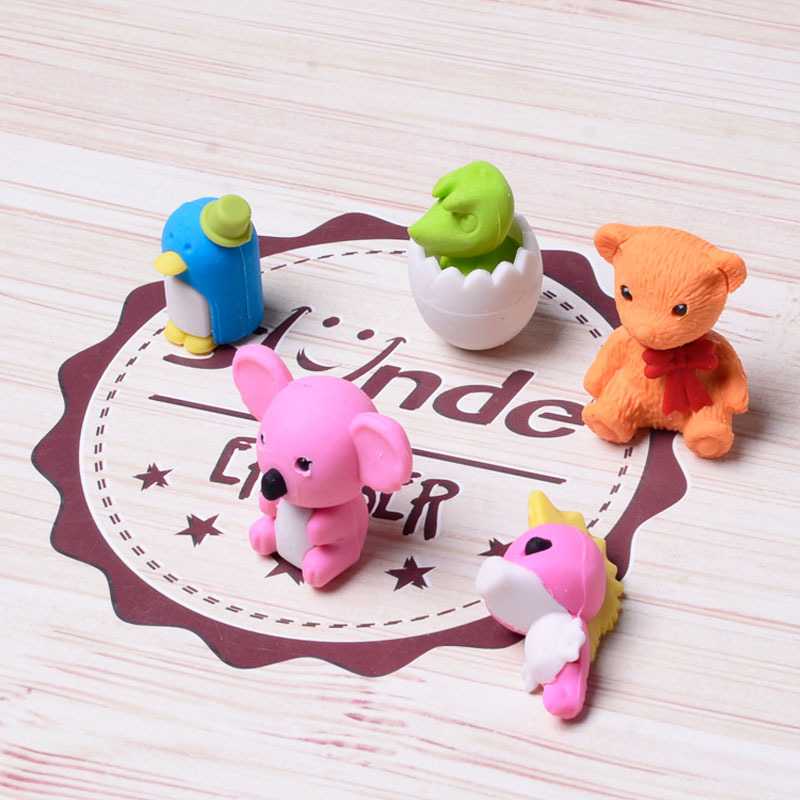 1set Creative Pet Shape Ice Age Rubber Toy Eraser Student Learning Stationery School Supplies Gift For Kids Wholesale cheap#1072(China)
