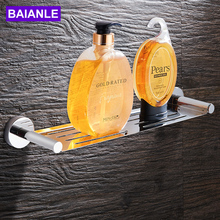 BAIANLE Stainless Steel wall mounted Chrome Bathroom Shelf high quality Hardware Accessories(China)