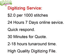Top Quality Green Digitizing Service Embroidery Digitizing US$2.0 per 1000 Stitches 24 Hours Online Digitizing Service Discount