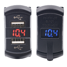 12-24V CS-437 LED Dual USB Port Universal Car Charger Adapter With Voltmeter For Car Motorcycles Boat 2 Color Available