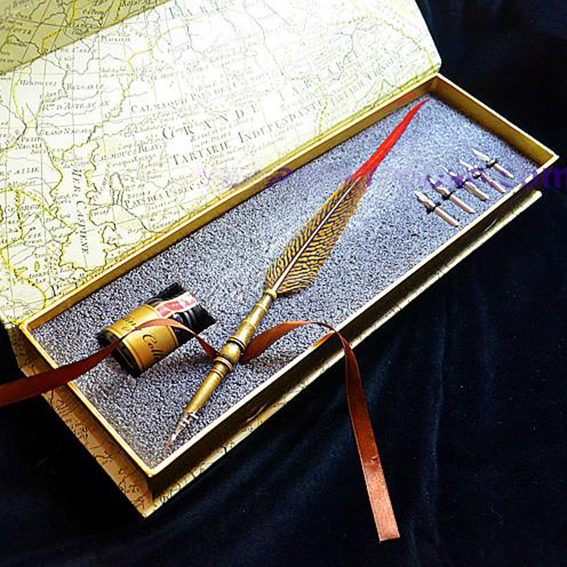 European Style Natural Feather Fountain Vintage Pen with 5 Nibs 1 Ink<br>
