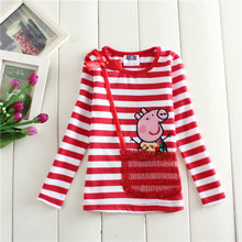 kids girl tops full sleeve O-neck cotton cartoon peppa stripe cute comfortable Tshirts chlildren baby bottoming fashion shirt(China)