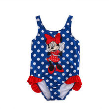 2017 Fancy Blue Dot Kids Baby Girl Minnie Mouse Swimwear Swimming Swimsuit Beach Clothes Set 1-5T