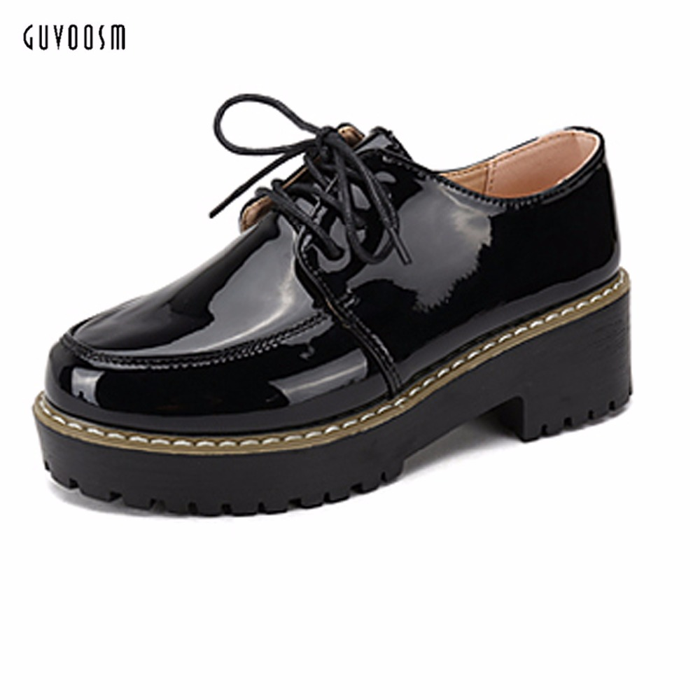 Guvoosm For Women Black Casual Rubber Pump Lace-up  Sapato Feminino Shoes Woman Round Toe Ladies Med Heels Big Small Size 31-44<br>