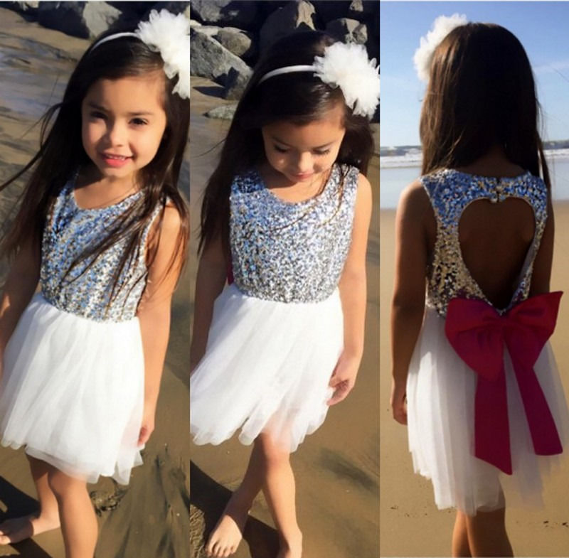 Sequins Baby Girls Party Dress Princess Kids White Backless Bowknot Tulle Dress<br><br>Aliexpress
