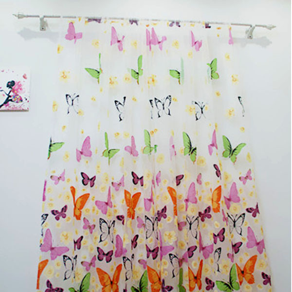 Tulle Curtains Sheer-Panel Door Balcony Window Living-Room Butterfly-Printed Colorful title=