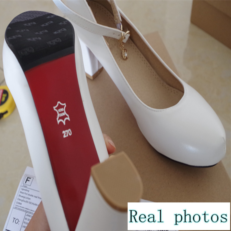 2017 fashion spring high quality PU women shoes EUR size 41 42 43 44 45 square heel round toe pumps buckle strap retro design<br><br>Aliexpress