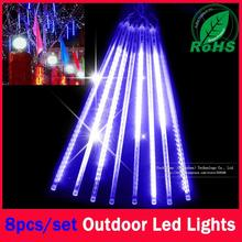 60% Christmas Leds 8 Pcs in a Set Meteor Shower Rain Tubes Lights Led Lamp 100-240V Outdoor Holiday Light New Year Decoration(China)