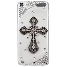 New Fashion Handmade Series 3D Bling Crystal Cross Transparent Clear Case Cover for Apple iPod Touch 5th Generation case(China)