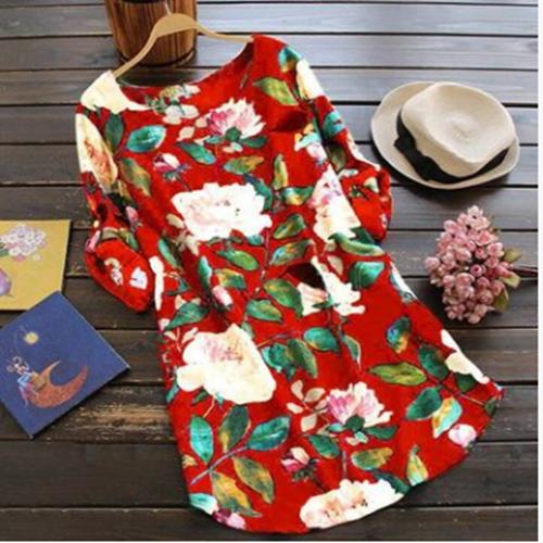 19 New Women Loose Floral Print Dress Ladies Mini Dress Summer Casual Party Dresses Long Sleeve Dress Plus Size 7