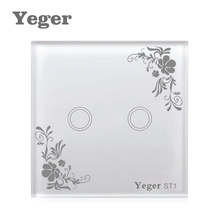 Yeger EU / UK Standard Unique Firewire touch sensing wall switch, Touch Switch 2 Gang 1 Way Switch Crystal Glass Panel,(China)