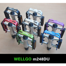 Bike Pedal Road Mountain Bicycle MTB BMX Parts Bike Cycling Wellgo Pedals M248 DU Bearing Flat Folding Bicycle Pedal Accessories