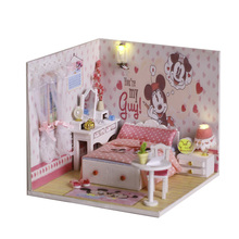 DIY mickey doll house play set pink world bedroom Furnitures Miniature Model playhouse with led light sticker wallpaper kids toy(China)