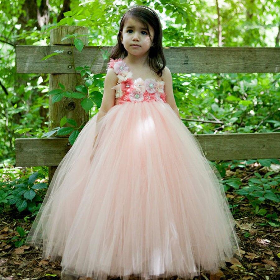 Flower Girl Tutu Dress Peach Coral Flower Tulle Dress Floor-Length Kids Tutu Dress For Wedding Birthday Party Photo TS075<br><br>Aliexpress