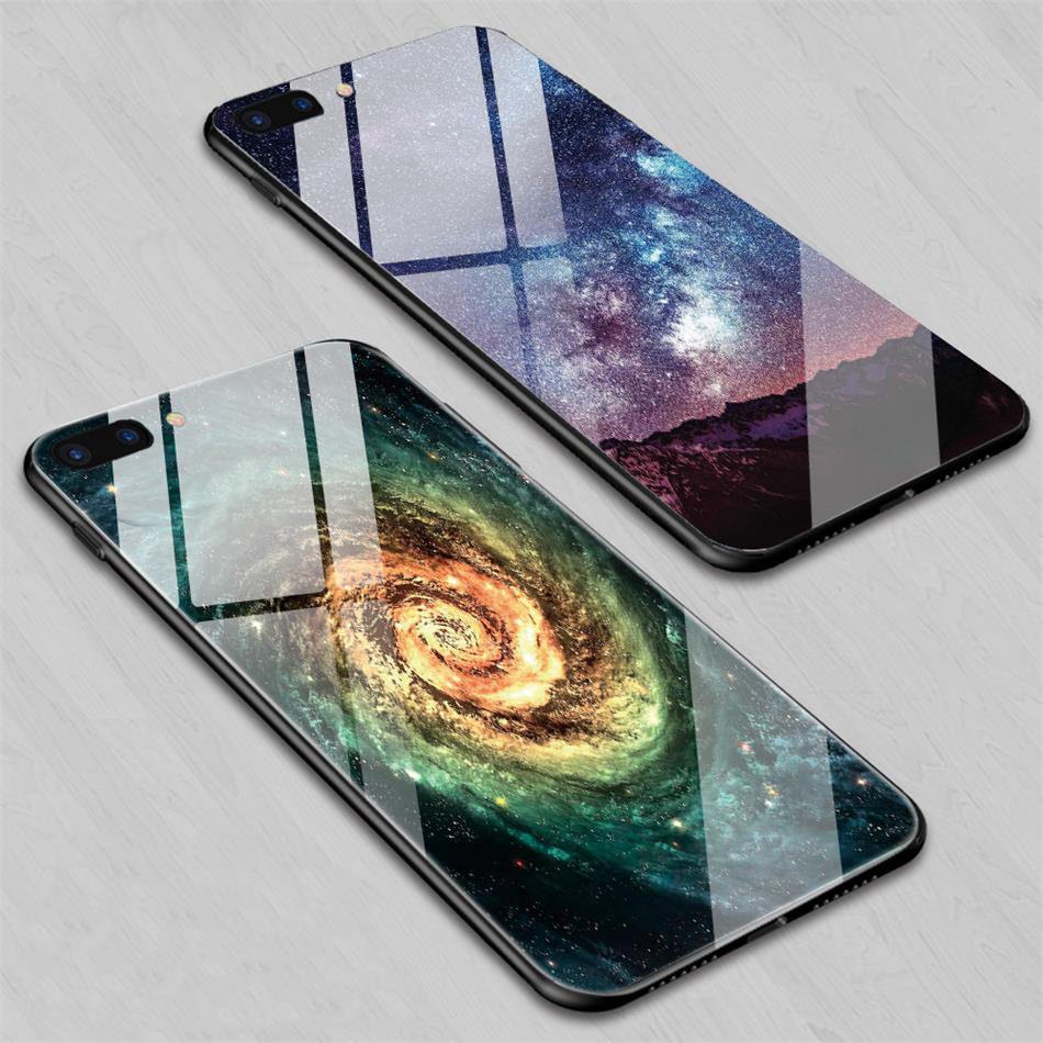TOMKAS Star Sky Pattern Glass Case For iPhone X 7 8 6 6 s Cover Phone Cases For iPhone 7 8 6 6s Plus X Case Silione TPU PC Coque (1)