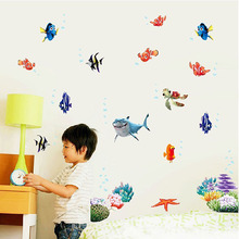 Fashion 1 Set Cute Children Colorful Fishes Sea World 3D Wall Sticker Bedroom Bathroom DIY Home Decals Decorative Accessories(China)