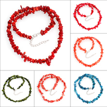 Free Shipping Jewelry 5x3mm-15x8mm Natural colorful Sea Coral Chip Beads Nylon Line Weave Necklace Choker Necklaces Women 48cm