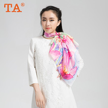 TA High - grade silk digital inkjet small towel Hangzhou silk scarves shawl autumn and winter warm scarf wholesale