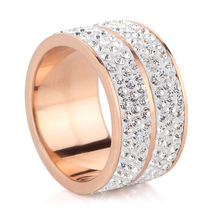 Free shipping New Rose Gold Color Classic design Stainless Steel Wedding Rings For Women Jewelry(China)
