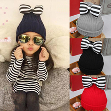 Newborn Baby Hat Cute Striped Bow Kids Woolen Hat Children Photography Crochet Knitted Baby Cap For Girls Fotografia Wool Beanie(China)