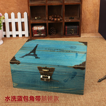 No. manufacturers selling zakka do the old wooden storage vintage wood table locking storage box home(China)