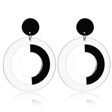 New Brand Hollow Black White Big Round Circle Earrings Pendant Female Acrylic Resin Statement Drop Earrings For Women Brincos(China)
