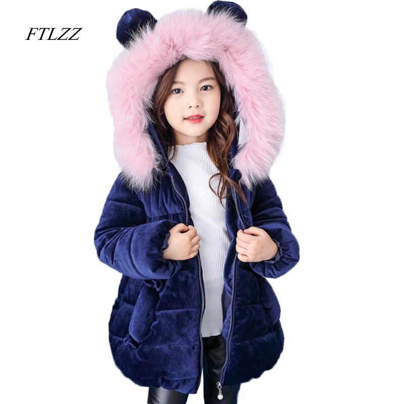 Winter Baby Girls Long Jacket Coat 2017 Fashion Real Hair Collar Hooded Velvet Cotton Children Clothing Girl Parkas 1-10year<br>