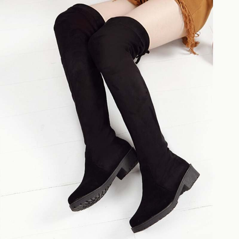 2017 winter snow boots women casual slip on elastic fabric botas fashion design shoes woman over the knee thigh high women boots<br><br>Aliexpress