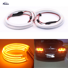 4x131mm Yellow/Amber/Orange Car SMD LED Angel Eyes Halo Ring Headlight DRL for BMW E46,E36,E39,E38(China)