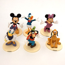 6pcs/set Mickey Minnie Donald Duck Minnie Mouse Goofy Figure Toys PVC Model Dolls Gift For Children