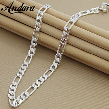 ANDARA 8MM 22'' 55cm Men's Fashion Silver Figaro Chain Necklace Fittings 925 Silver Necklace High Quality Jewelry N187