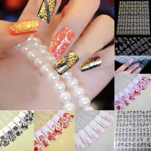 108pcs/1 Sheet Fashion Women Beauty Flower Nail Stickers Manicure Decals Stamping French Nail Art 3D DIY Tips Tool(China)
