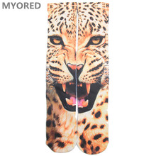 LETSBUY men tiger socks 3d printed animal style hip hop long tub sox funny skateboard professional basketball sock for men women