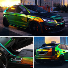 Chrome Holographic Wrap Rainbow Vinyl film Chrome laser Vinyl car sticker with air free bubble Import glue